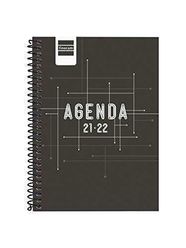 Finocam Agenda 2021 2022 Semana vista apaisada Septiembre 2021, Junio 2022 10 meses y Julio/Agosto resumidos 8º, 120x162 Cool Negro Español