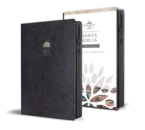 Biblia Reina Valera 1960 letra grande. Símil piel negro, cremallera, tamaño manual / Spanish Holy Bible RVR 1960. Handy Size, Large Print, Leathersoft, Zipp