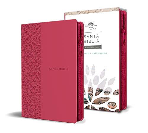 Biblia Reina Valera 1960 letra grande. Símil piel fucsia, cremallera, tamaño manual / Spanish Holy Bible RVR 1960. Handy Size, Large Print, Leathersoft, Zipp