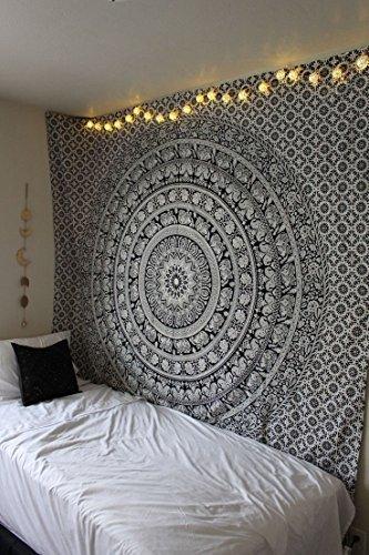 Tapiz Mandala Colgar en la Pared - Black and White Tapices Decorativo Cubierta Decorativa Casera Etnica India Tapestry - Blanco y Negro - 213 x 137 cm