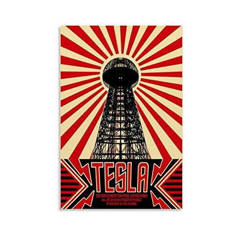 Nikola Tesla - Lienzo decorativo para pared (30 x 45 cm)