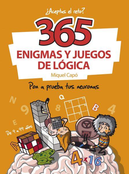 Libro con 365 enigmas y juegos de lógica para niños y adultos.